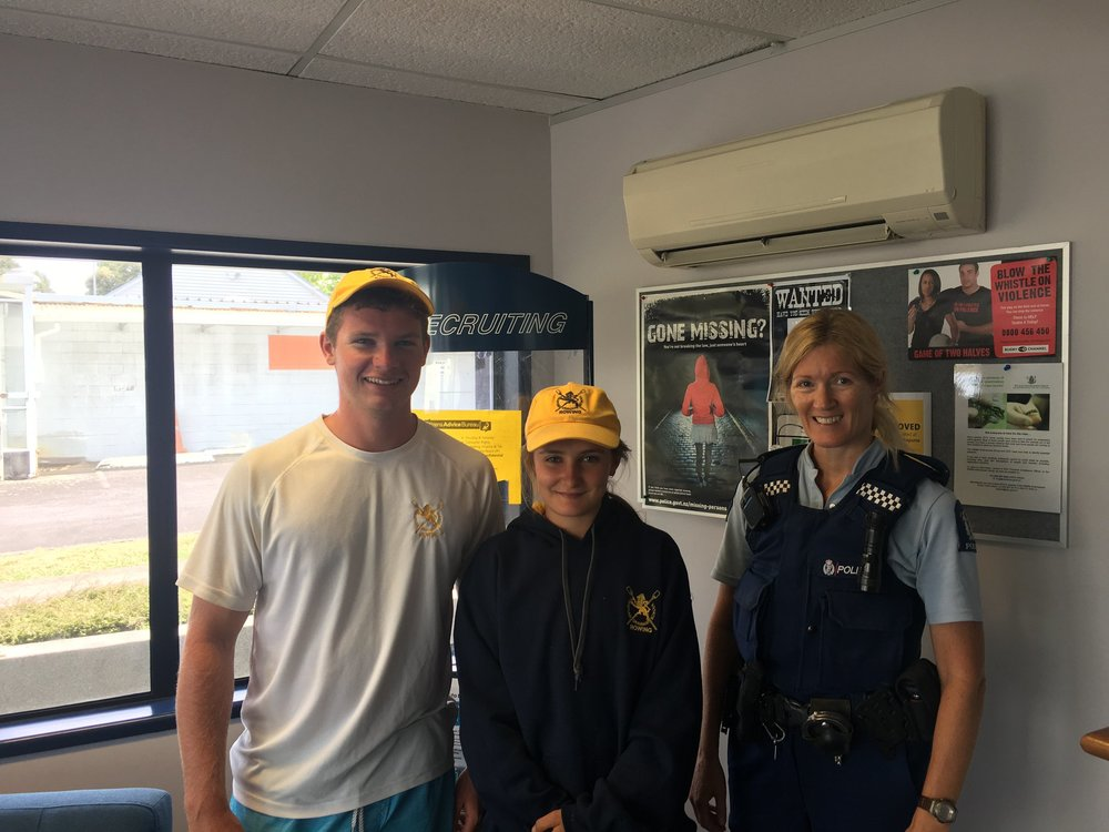 Thank you to everyone who bought a raffle ticket over the past few months, supporting the club to invest in a new boat for our wonderful crews to train and compete in.  Our Club Captains Jess and Jack popped down to Takapuna Police Station today to draw and verify our lucky winners.  Congratulations and thank you 🚣‍♀️🦁🚣‍♂️