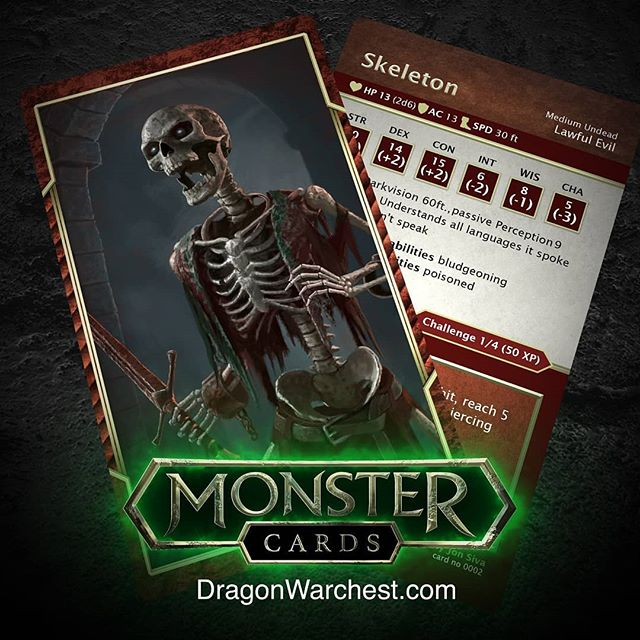 Skeleton 5e... Coming soon. Dragon warchest is currently building a deck of monster cards for 5E. Follow the the instagram or sign up to the mailing list at dragonwarchest.com if your keen on more info. #dnd #dungeonsanddragons #dungeonmaster #5e #goblin #monstermanual #rpg #neutralevil #playingcards #monsterdeck #dragons #monster #fantasy #art #fantasyart #wotc #undead #skull #crypt #dungeon