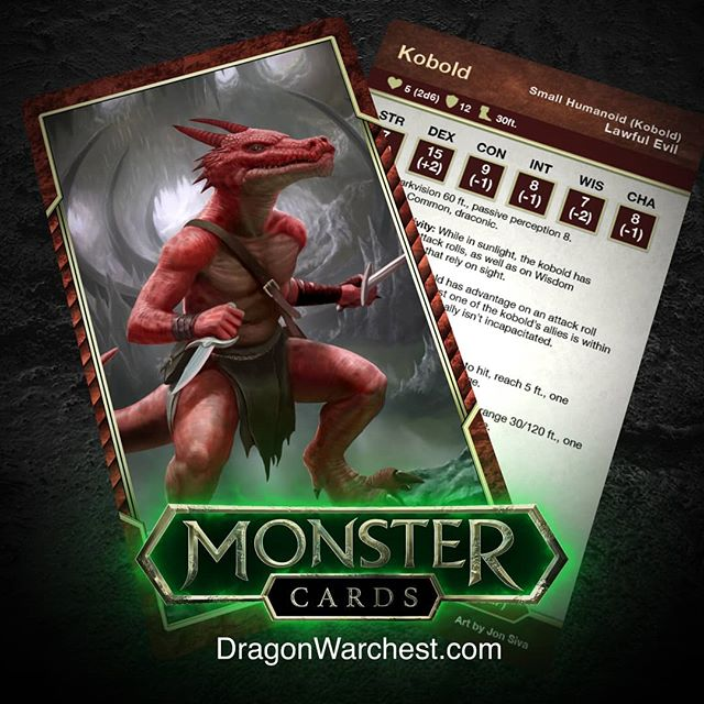 Kobold 5e... Coming soon. Dragon warchest is currently building a deck of monster cards for 5E. Follow the the instagram or sign up to the mailing list at dragonwarchest.com if your keen on more info. #dnd #dungeonsanddragons #dungeonmaster #5e #goblin #monstermanual #rpg #lawfulevil #playingcards #monsterdeck #dragons #monster #fantasy #art #fantasyart #wotc