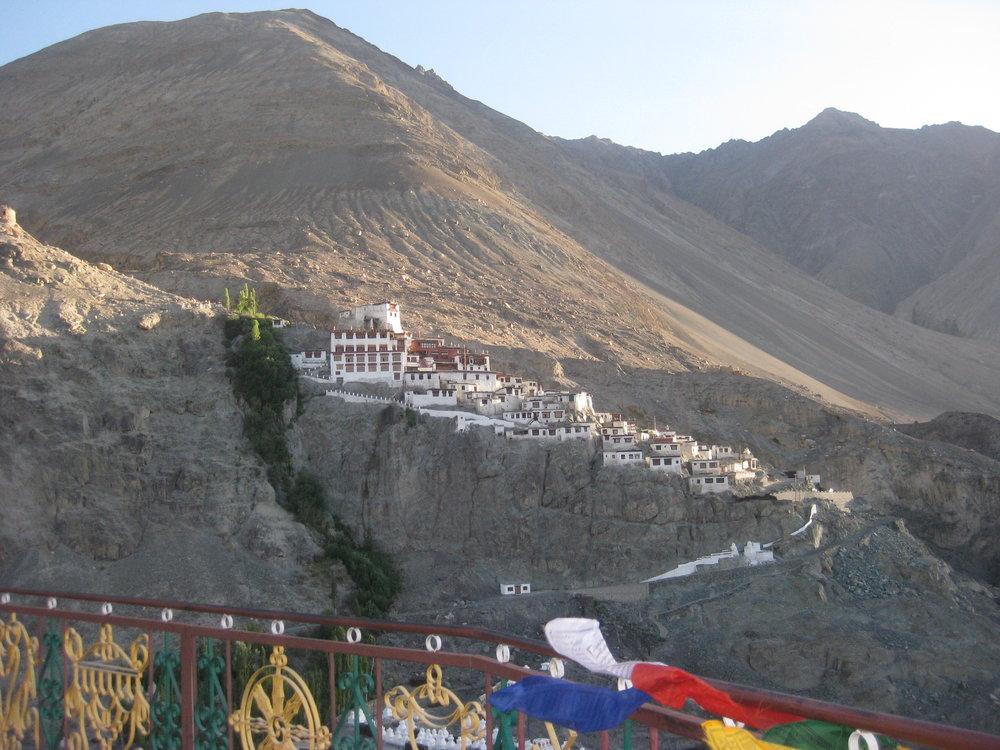 Disket Monastery seen from the Maitreya statue