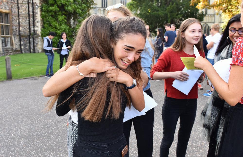 Morgan celebrating her amazing GCSE results
