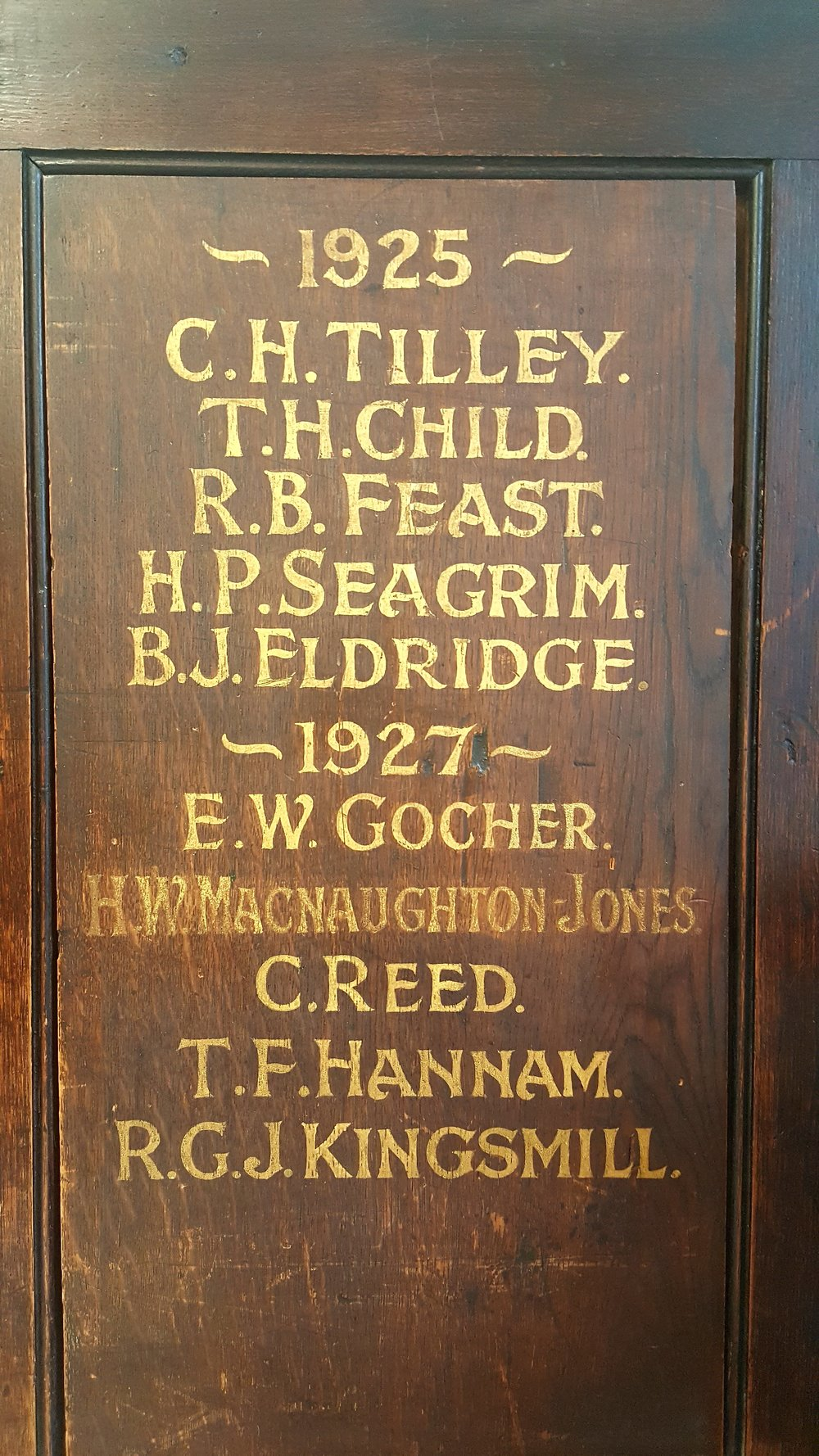 The 1925 prefect board standing in School House