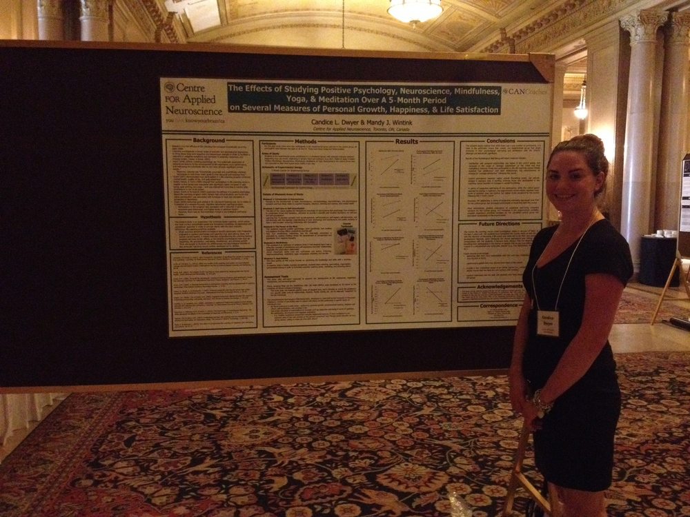 Research Coordinator, Candice Dwyer presenting our results at the Canadian Positive Psychology Association Meeting in Ottawa. July 2014.