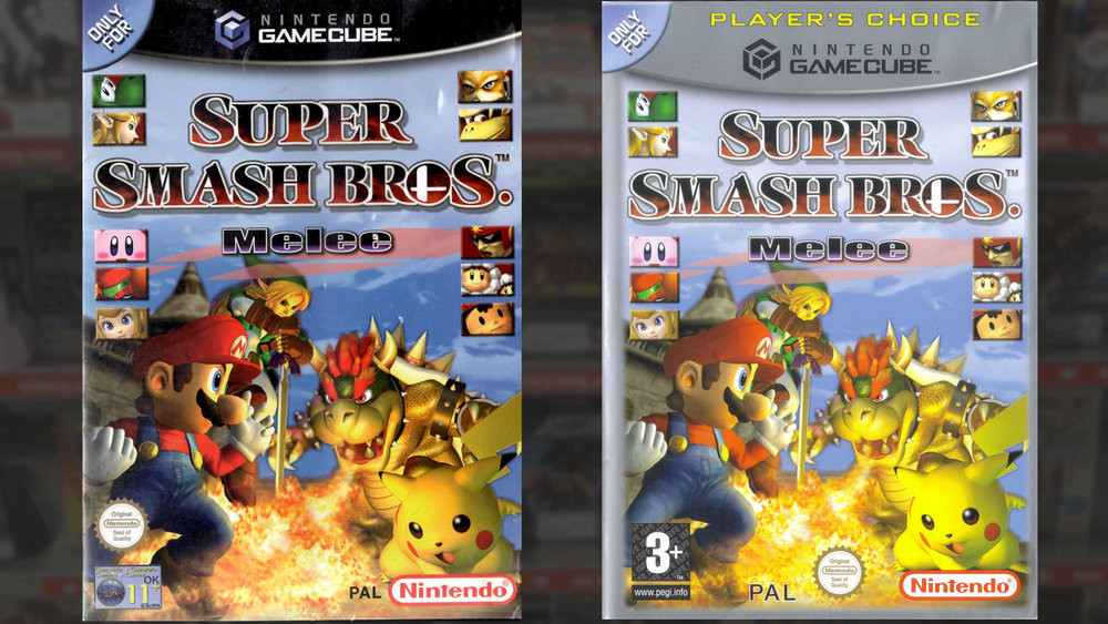 Super Smash Bros Melee - as originally released on the left, with an 11+ rating from the ELSPA - and the Player's Choice release with a PEGI 3 rating.