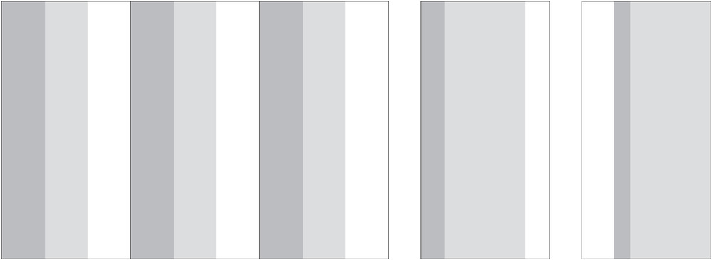 "Standard Layout (108"" height by 3 full width panels) and Single Panel Variations"