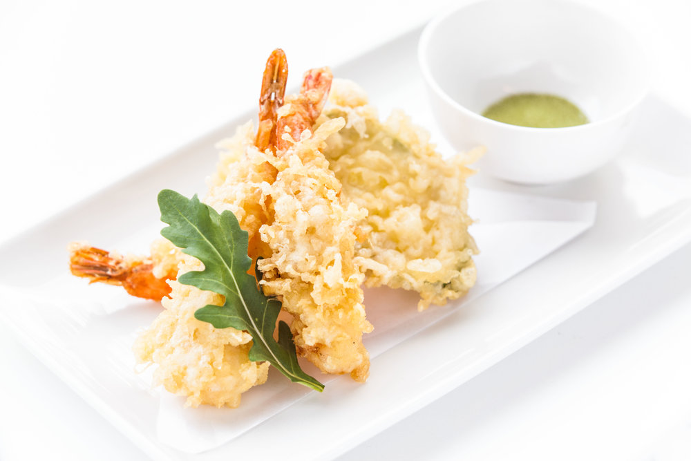 Tempura king prawns with matcha salt