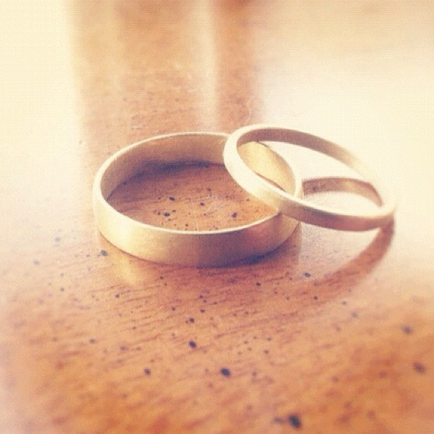 Need wedding bands? Igotchu. These are made from mother + great grandfather's gold jewelry. #shop #handmade #jewelry #jewellery #vintage #wedding #bridal #love (Taken with instagram)