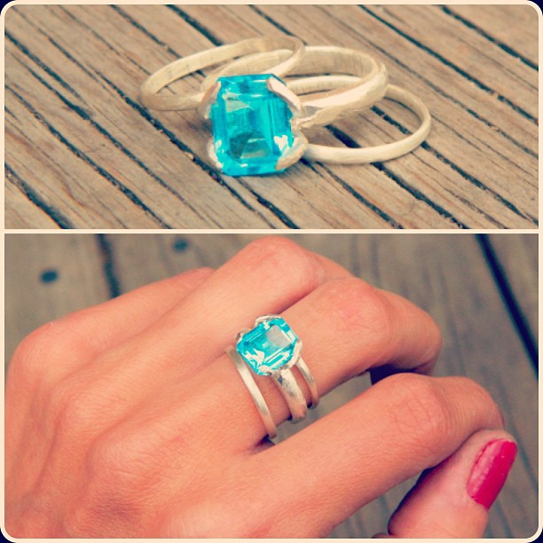 Just finishing this custom ring with Blue Topaz from upcycled jewelry.  This stone is stupid bright!