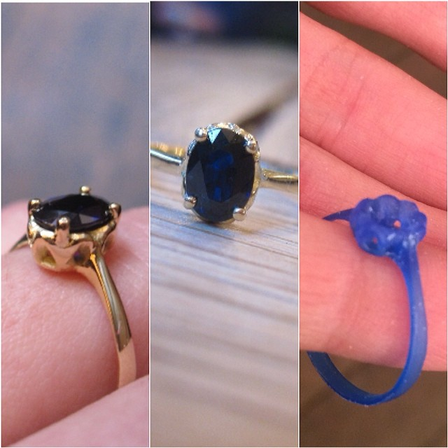Sending a massive congratulations to Toby and Lianna who just got engaged last weekend! Honored to have made this engagement ring for the couple. Oval Sapphire with 18k Yellow Gold. Hand carved from a block of wax. (at WeAreArrow Jewellery)