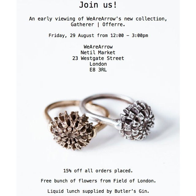 Join us this Friday for the first look at our new collection, Gatherer | Offerre. Drinks, flowers, and discounts. #London #Handmade #Jewellery (at Netil-Market Hackney)