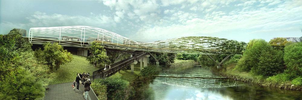 Salford Meadows pedestrian bridge