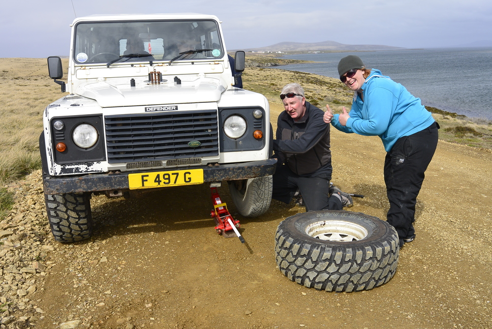 Falkland Islands Land Rover Flat Tire