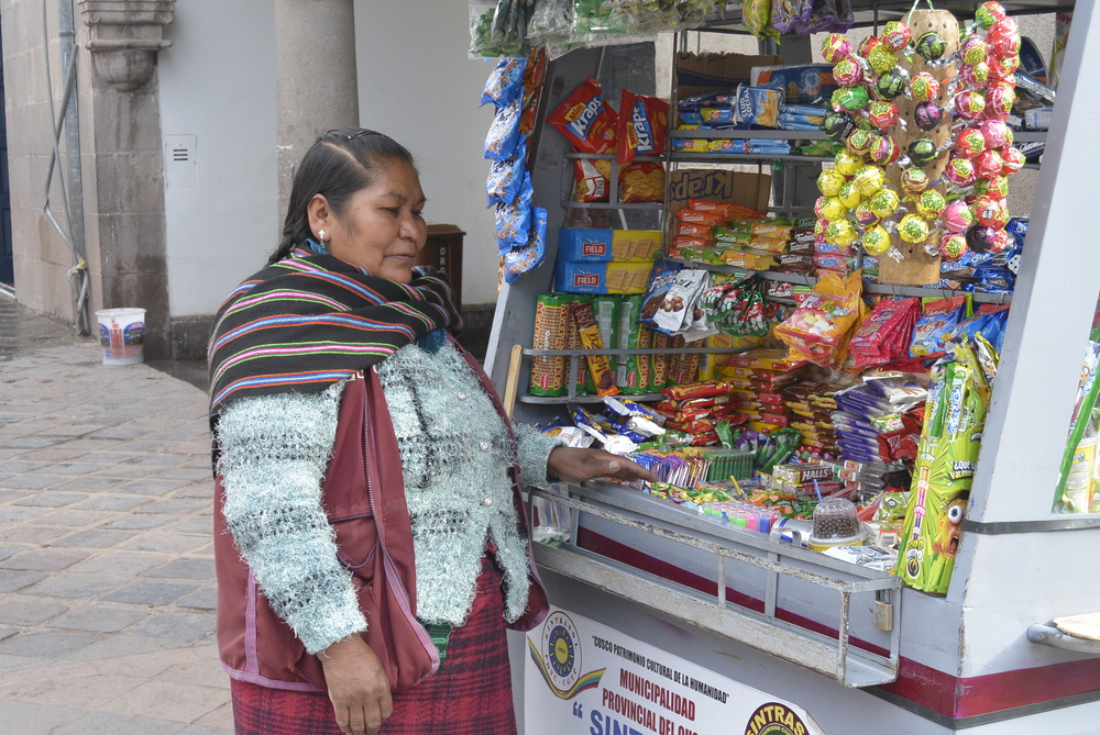 Cusco Peru Peruvian Woman Selling Snacks