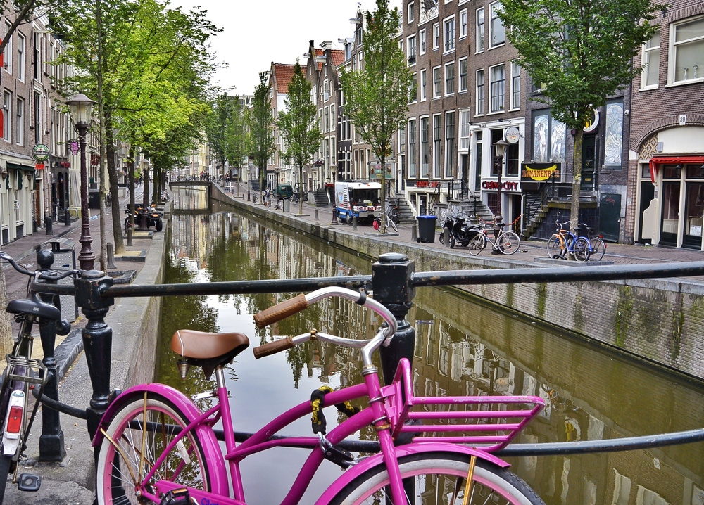 Pink Bicycle Amsterdam Canal