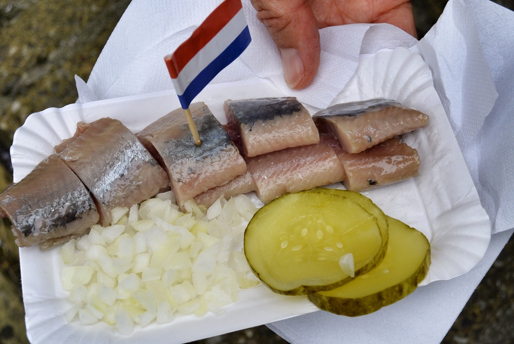 Eating herring in Volendam