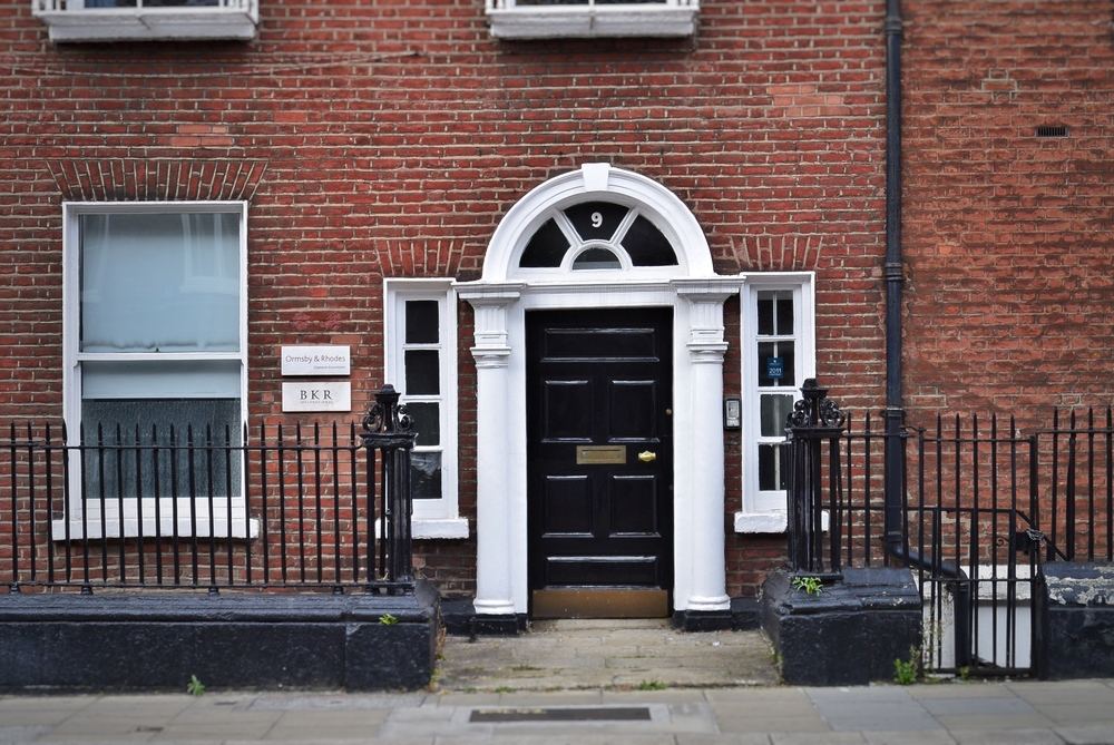 Black DOOR NEAR MERRION SQUARE IN DUBLIN