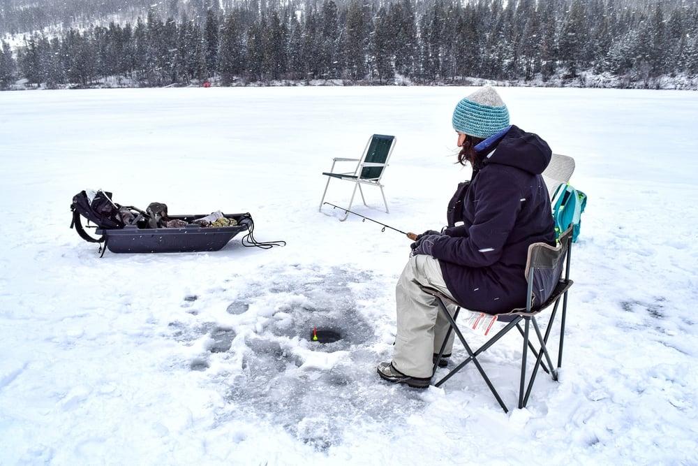 Ice fishing at Osprey Lake