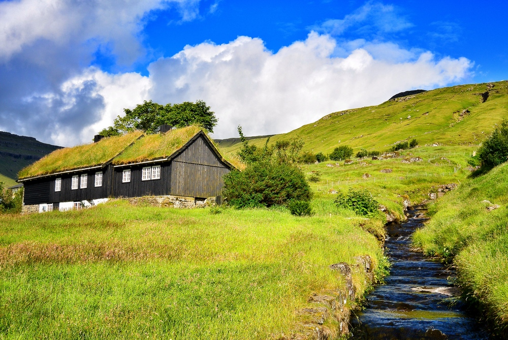 Faroese turf roof house
