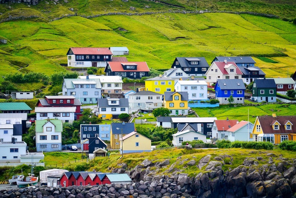 Brightly colored houses on Streymoy