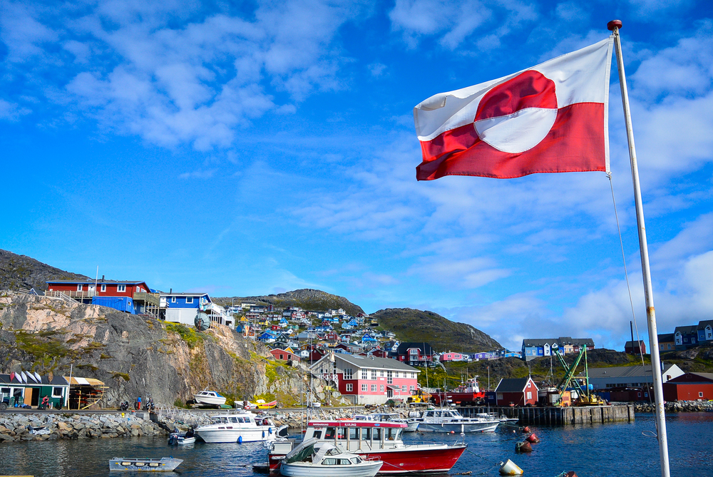 Flag of Greenland and Qaqortoq