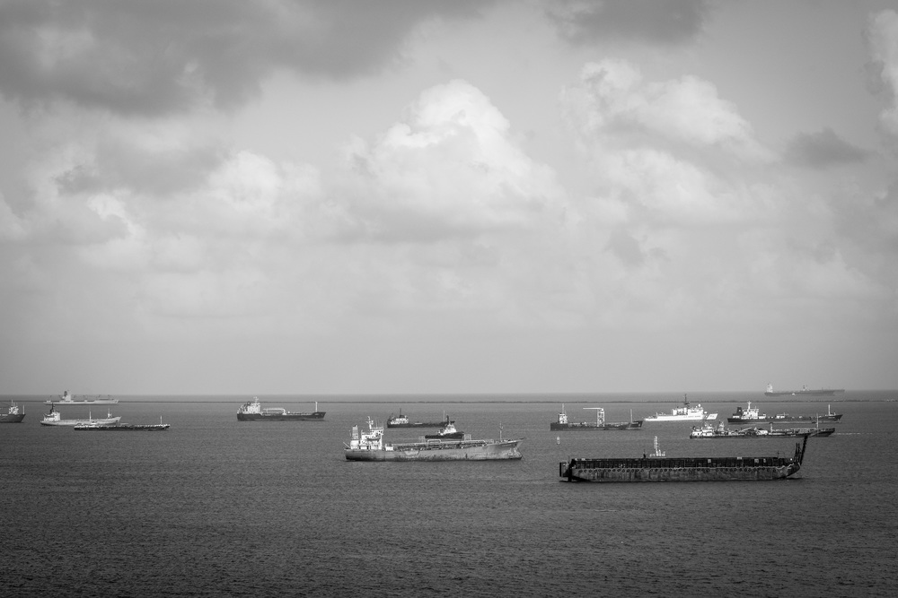 Ships waiting to enter the Panama Canal