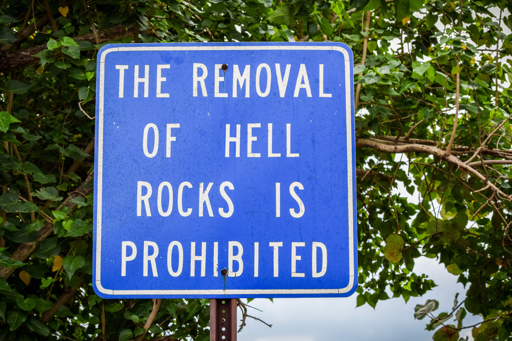 The removal of hell rocks is prohibited sign, Grand Cayman