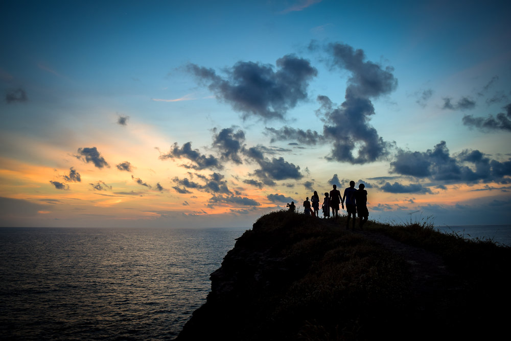 Silhouettes at dusk at Punta Cometa
