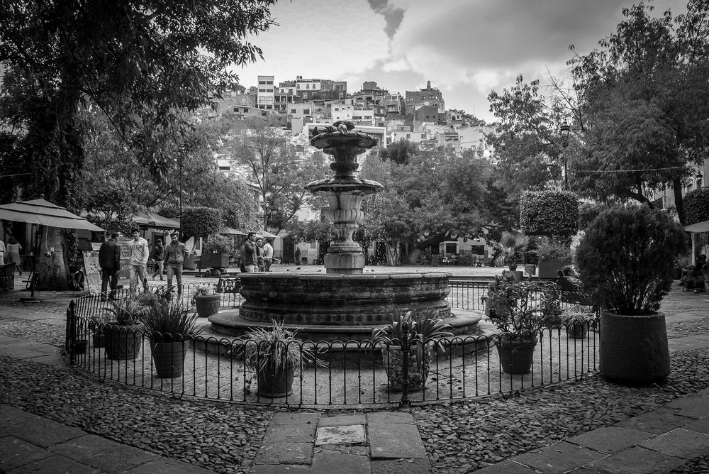 Fountain in a square in Guanajuato