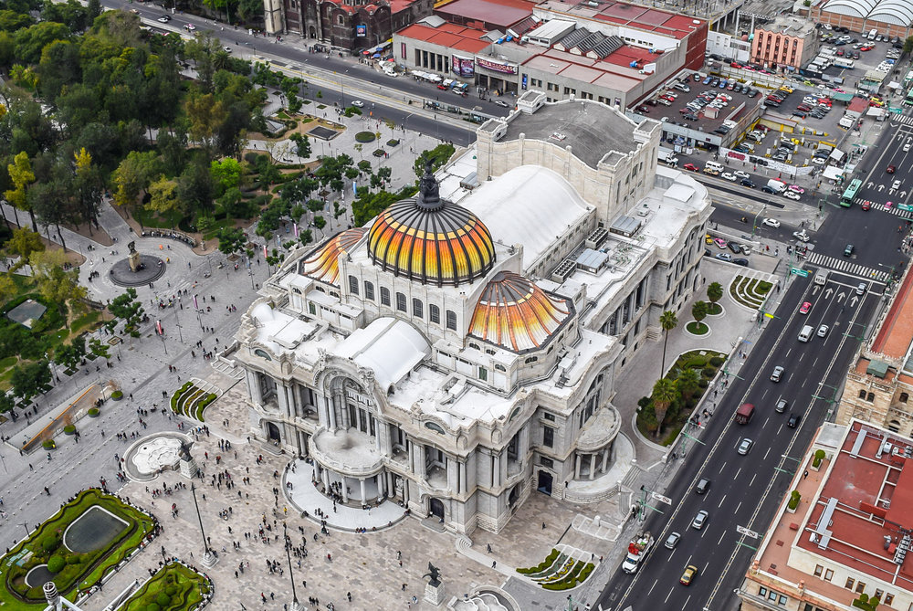 Intricate roof of the Palacio de Bellas Artes in Mexico City