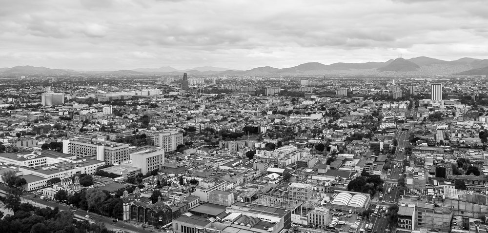 Mexico City in black and white