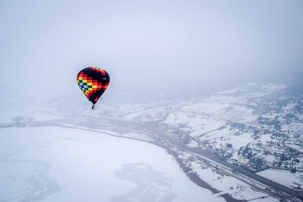 Hot Air Ballooning Over the Okanagan in Winter