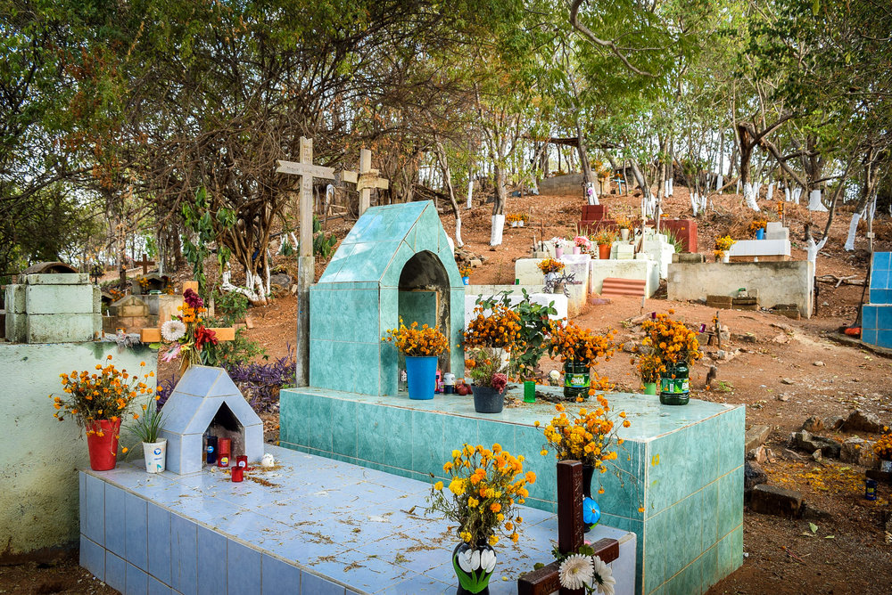 Cemetery decorated with flowers for Dia de los Muertos
