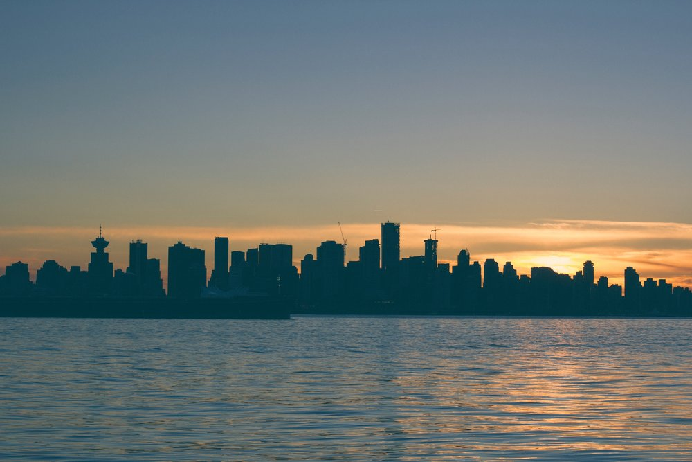 Silhouette skyline of Vancouver