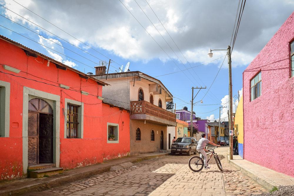 Bicyclist in Santa Rosa de Lima, Mexico