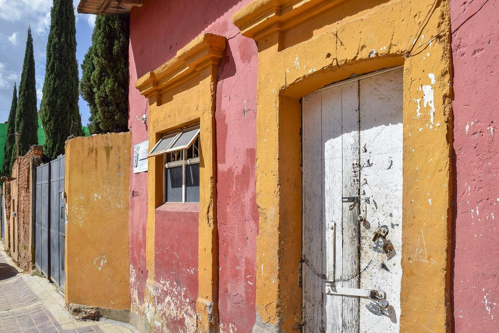 Colorful buildings in Santa Rosa de Lima, Mexico