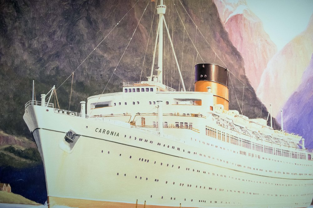 Artwork of the Caronia inside Queen Mary 2