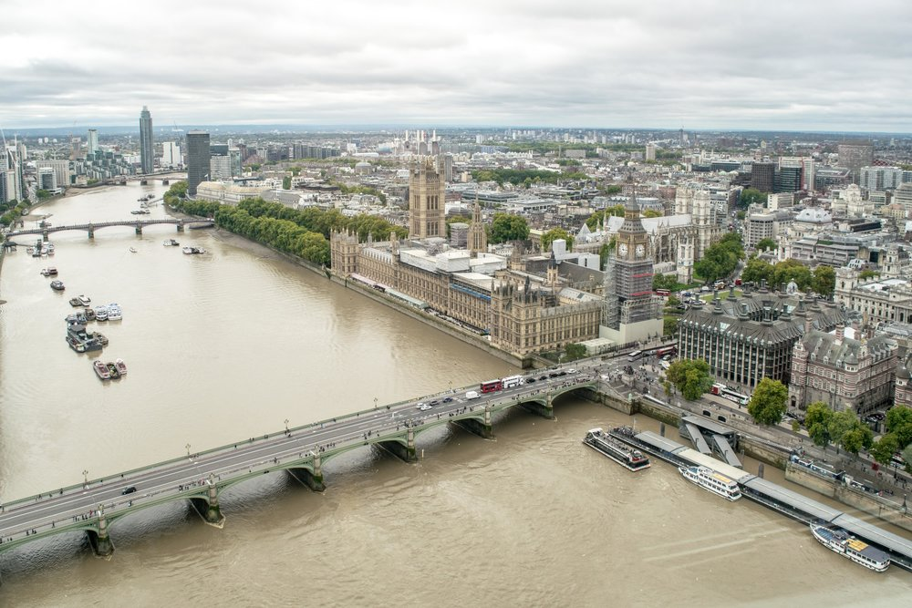 Big Ben, Houses of Parliament, and the River Thames as seen from the London Eye