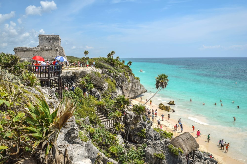 The ruins of Tulum and beach