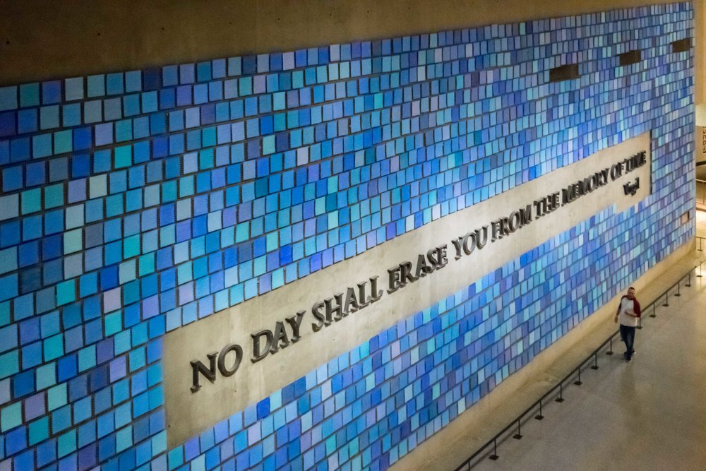 """No Day Shall Erase You From the Memory of Time."" Memorial Hall, 9/11 Museum"
