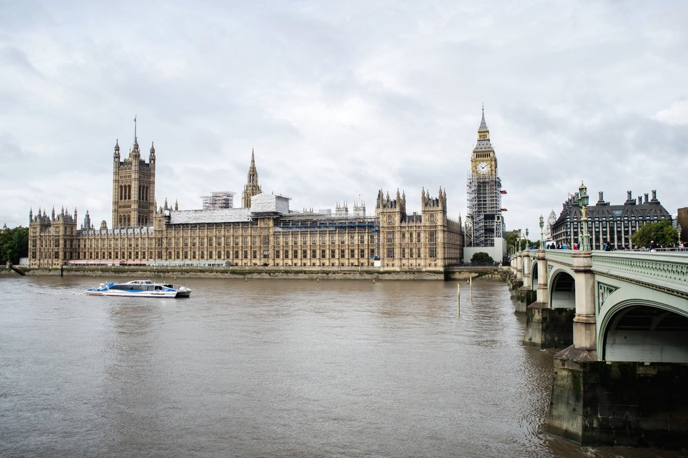 View of Big Ben and the Palace of Westminster from across the River Thames