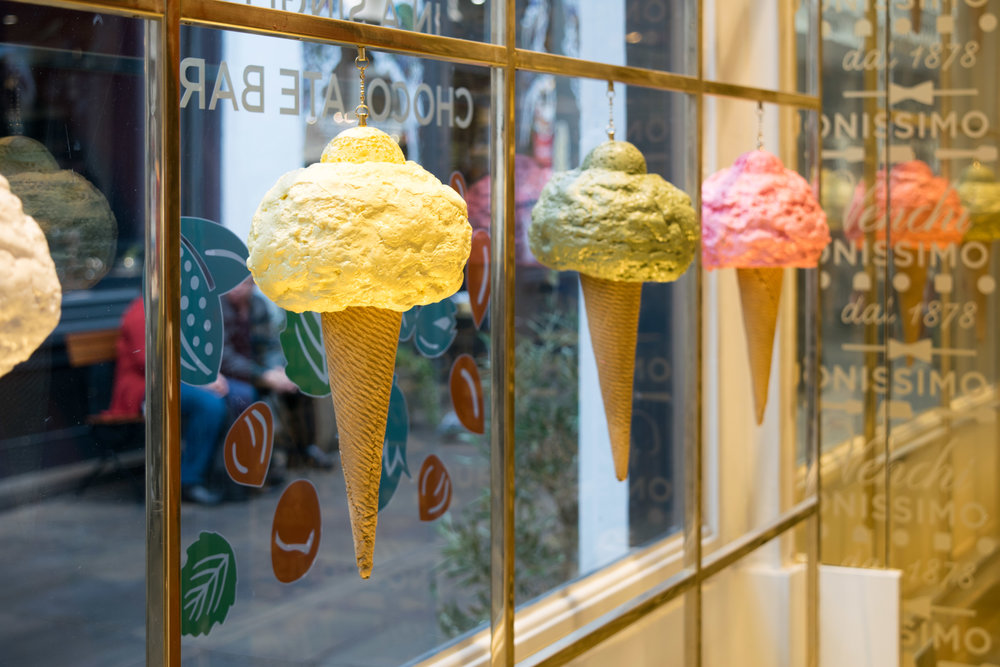 Decorative ice cream cones in a Covent Garden storefront