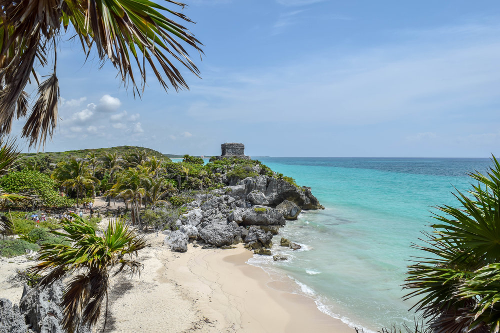 View of the Tulum ruins and the beach