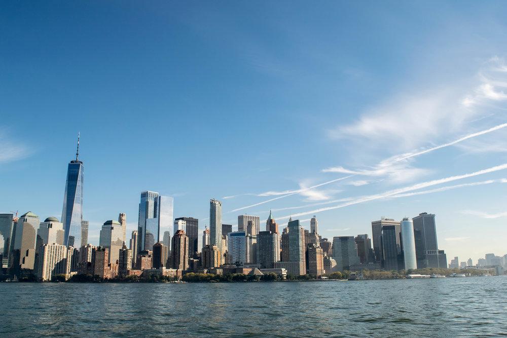 View of Lower Manhattan Skyline including One World Trade Center