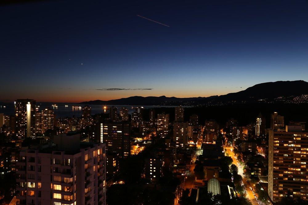 Nigh time view of downtown Vancouver