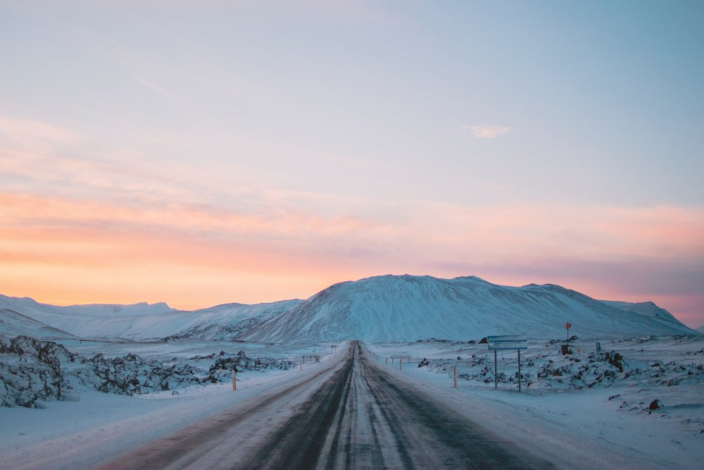 Snowy road in Iceland