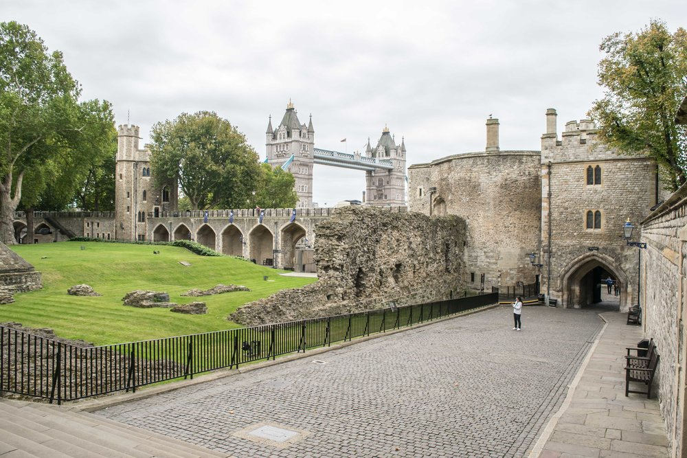 Inside the Tower of London with a view of Tower Bridge