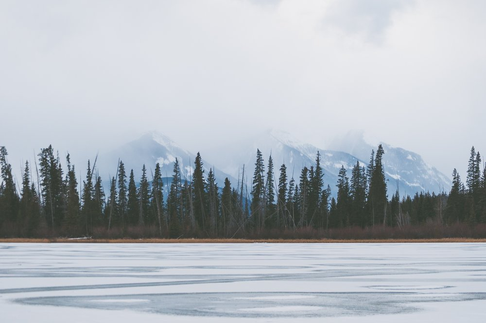 Frozen lake in the Rockies