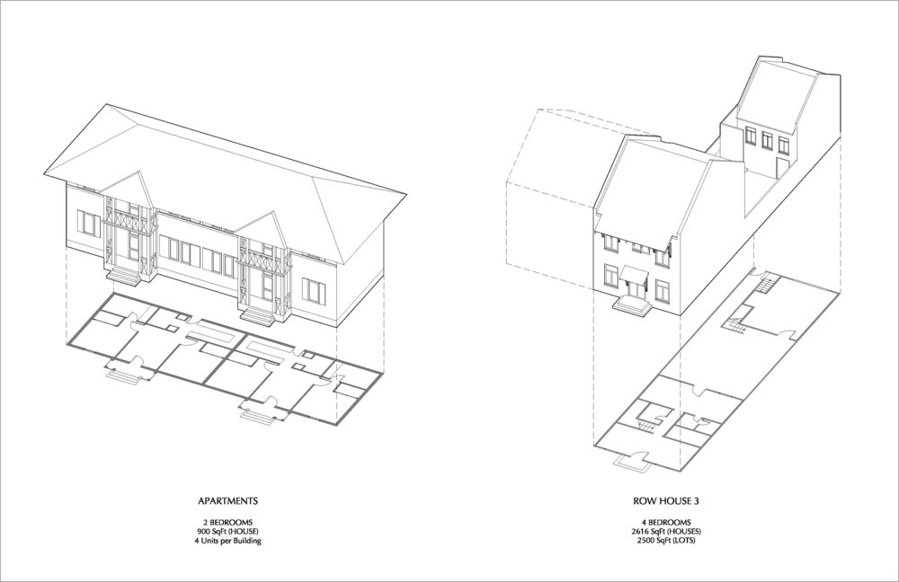 Proposed Apartment and Rowhouse Typologies (designed by Rick Lopez (L) and Steven Fett (R)