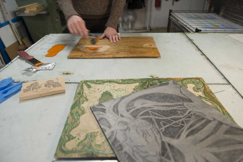 A variety of different  plates all carved up and ready to be inked and printed. Photo by Nancy Strahinic.