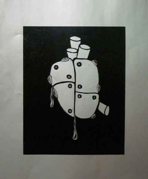 Metal Plated Heart 8x10 Linocut on Silver Paper For Sale $125